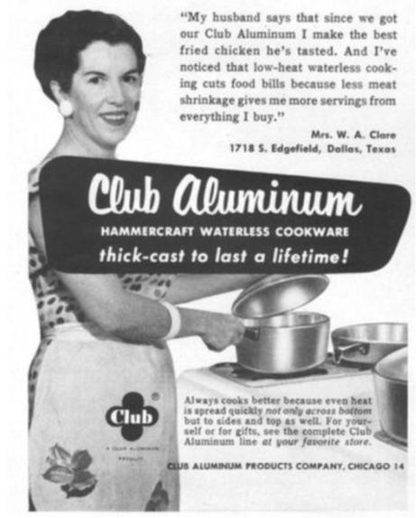Bild einer Hausfrau mit Taylors Club-Aluminium-Geschirr